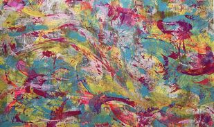 Sway With Me by Seema Kaushik, Abstract Painting, Acrylic on Canvas, Muddy Waters color