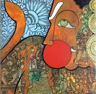Hanuman by Ramesh Gorjala, Traditional Painting, Acrylic on Canvas, Dirt color