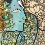 Vishnu by Ramesh Gorjala, Traditional Painting, Mixed Media on Canvas, Clay Ash color