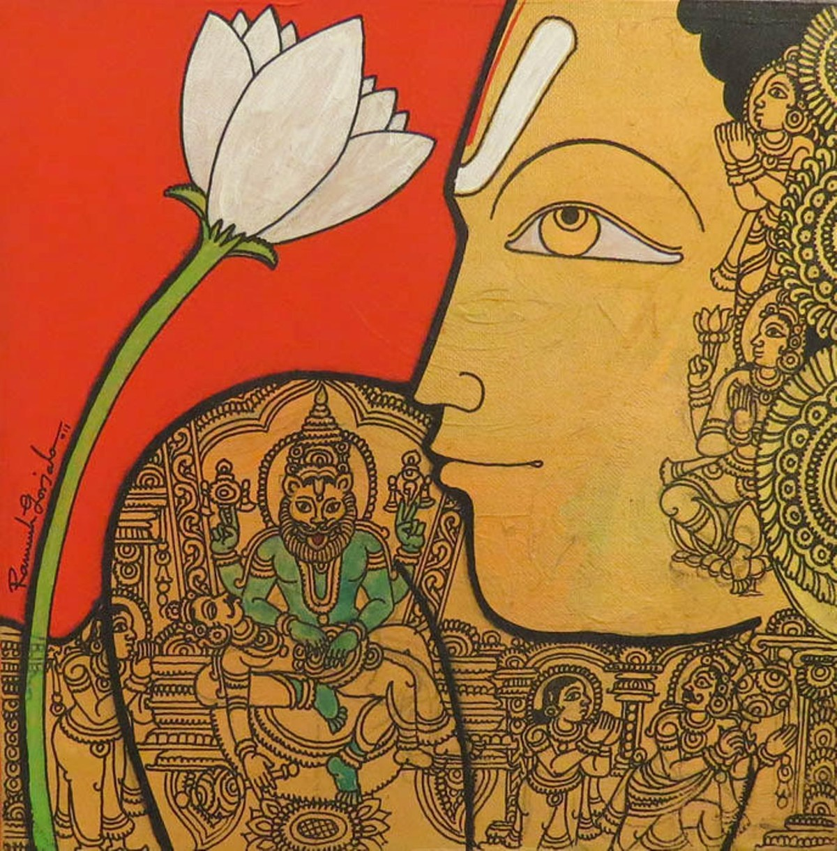 Untitled by Ramesh Gorjala, Traditional Painting, Mixed Media on Canvas, Metallic Bronze color