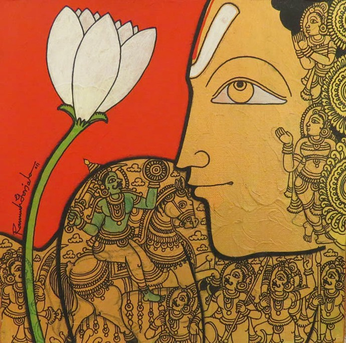 Untitled by Ramesh Gorjala, Traditional Painting, Mixed Media on Canvas, Copper color