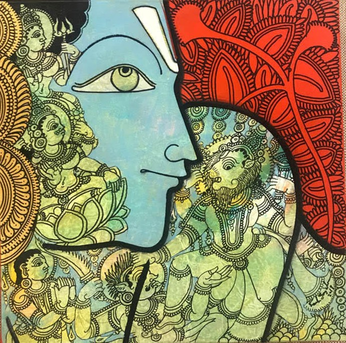 Vishnu by Ramesh Gorjala, Traditional Painting, Mixed Media on Canvas, Swamp Green color