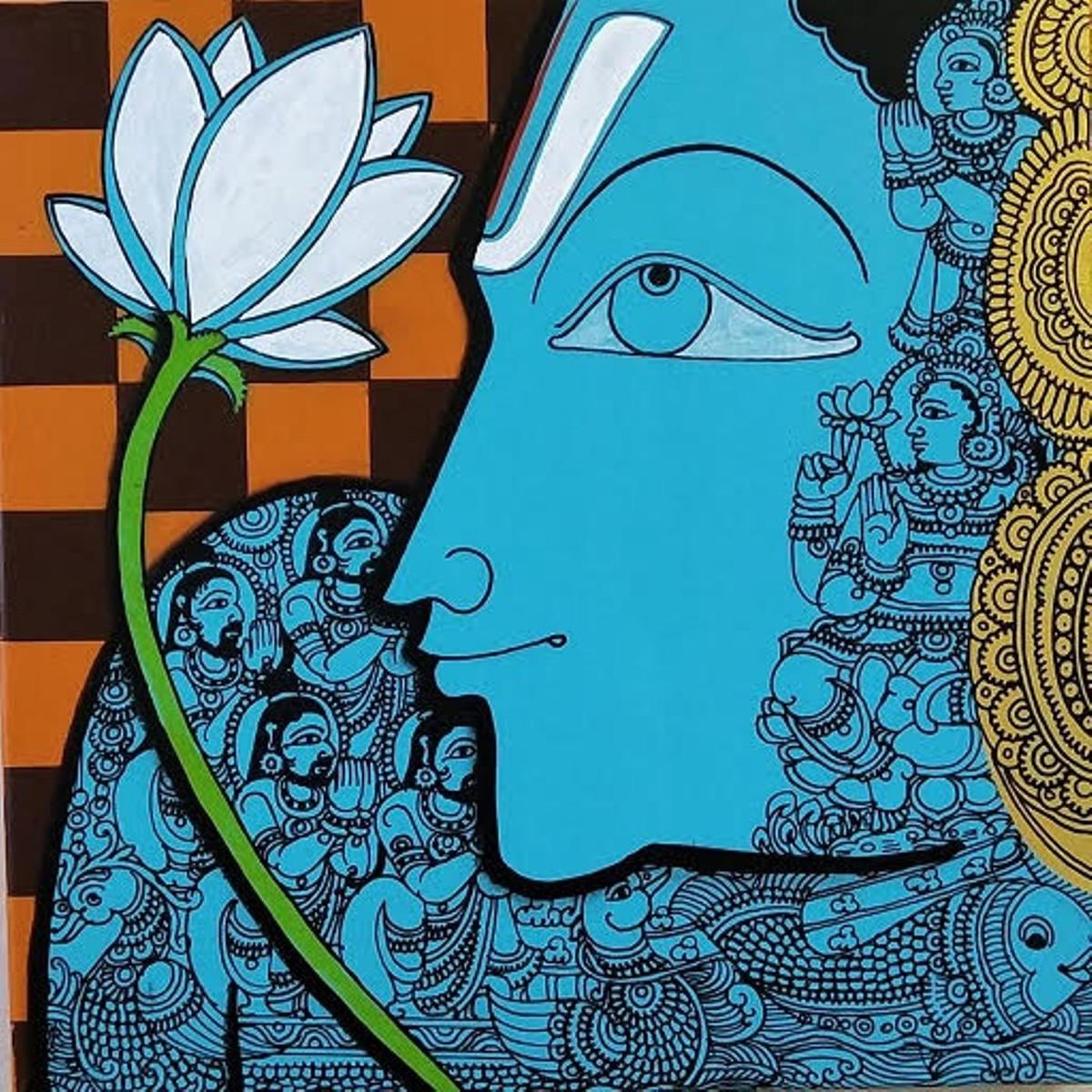 Vishnu by Ramesh Gorjala, Traditional Painting, Acrylic on Canvas, Sorrell Brown color