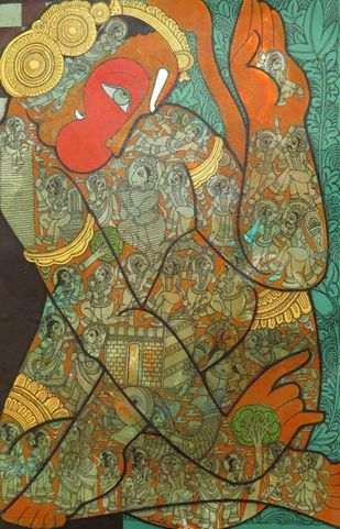 Hanuman by Ramesh Gorjala, Traditional Painting, Mixed Media on Canvas, Gold Fusion color