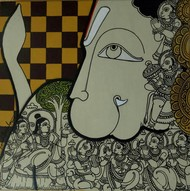 Hanumanji by Ramesh Gorjala, Traditional Painting, Mixed Media on Canvas, Bitter color