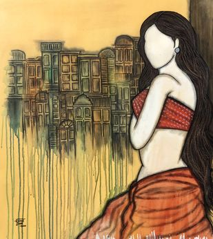 Prarabdh by Mrinal Dutt, Expressionism Painting, Acrylic on Canvas, Birch color