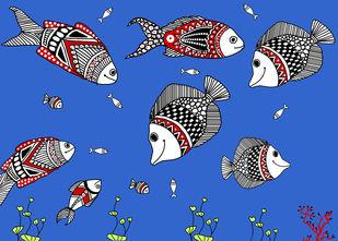 Aquarium by Susmita Mishra, Digital Digital Art, Digital Print on Paper, Denim color