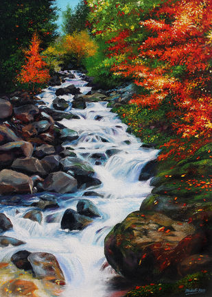 Water Stream by Muralidhar Suvarna, Expressionism Painting, Acrylic on Board, Rodeo Dust color