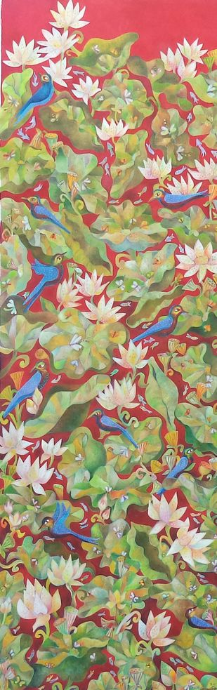 life by Chaitali Chatterjee, Expressionism Painting, Oil on Canvas, Sandal color