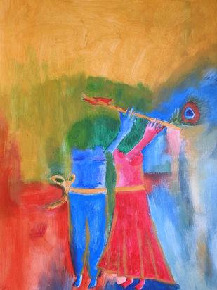RADHAKRISHNA by KAJAL PANCHAL, Abstract Painting, Acrylic on Paper, Tussock color