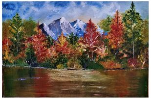 Mountain Range by Sujata Joshi, Expressionism Painting, Acrylic on Canvas, Millbrook color