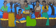 Fruit Seller by Nagesh Ghodke, Expressionism Painting, Acrylic on Canvas, Masala color
