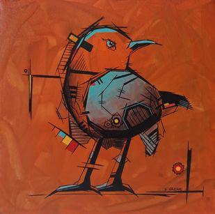 Geometric bird - 1 by Sanket Sagare, Geometrical Painting, Acrylic on Canvas, Paarl color