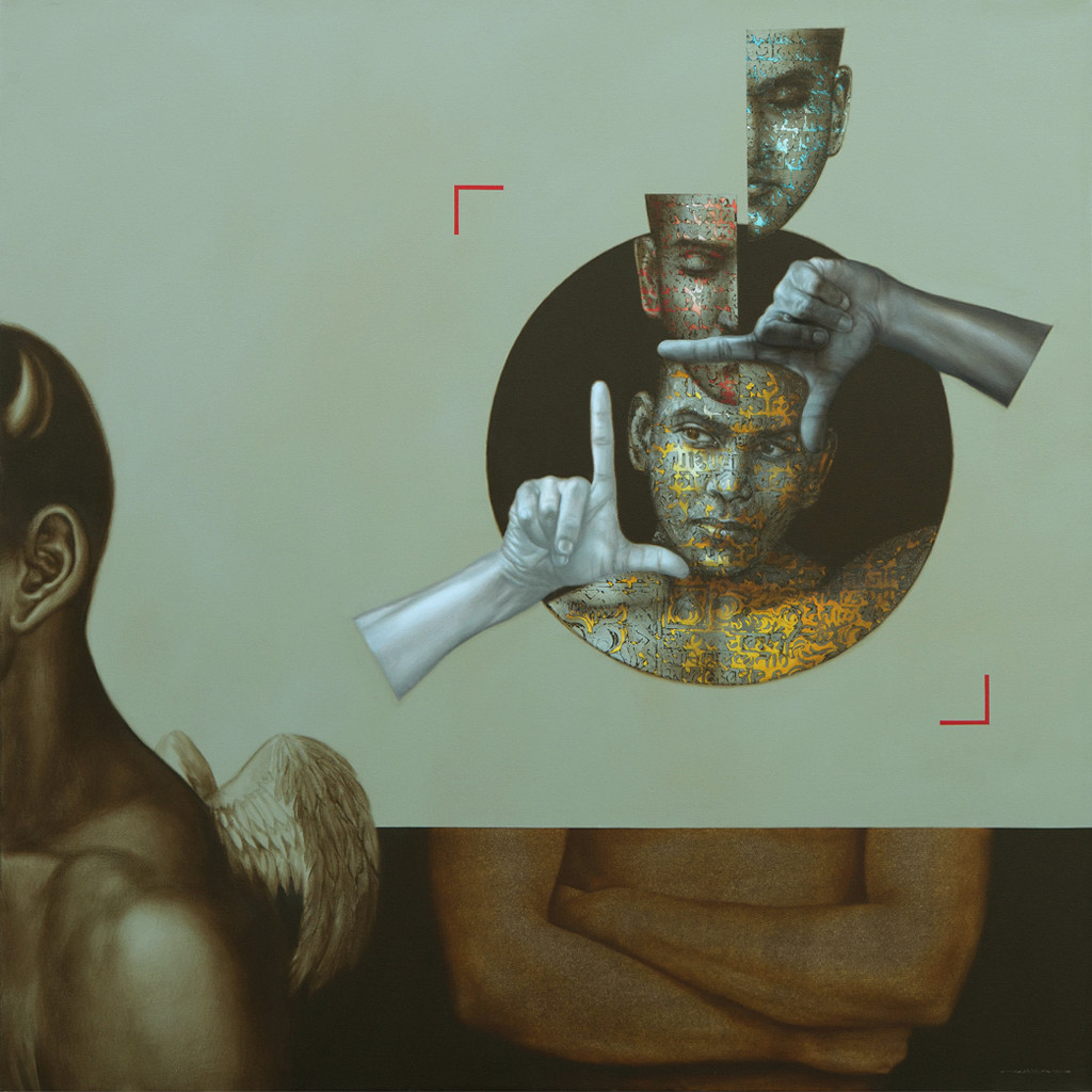 Society by Nilesh Ravindra Vede, Fantasy Painting, Acrylic on Canvas, Lisbon Brown color