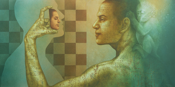 The Quest by Nilesh Ravindra Vede, Surrealism Painting, Acrylic on Canvas, Go Ben color