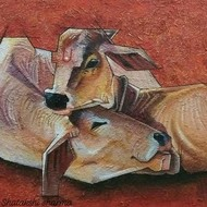 Love by Shatakshi Sharma , Expressionism Painting, Acrylic on Canvas, Leather color