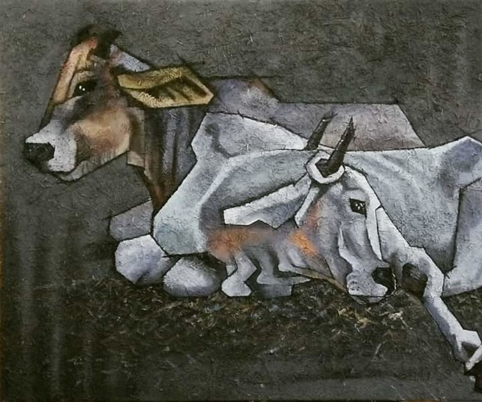Rest by Shatakshi Sharma , Expressionism Painting, Acrylic on Canvas, Armadillo color