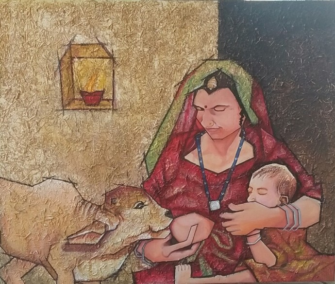 Motherhood by Shatakshi Sharma , Expressionism Painting, Acrylic on Canvas, Sandal color