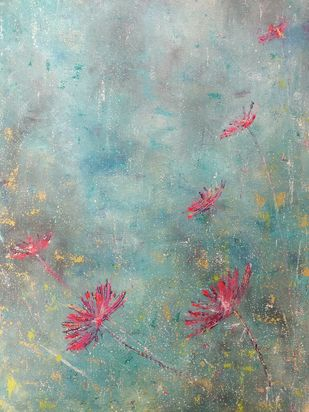 A floral blessing by Cheena Madan, Abstract Painting, Acrylic on Canvas, Picton Blue color