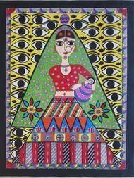 Madhubani Painting by Anjali Sharma , Folk Painting, Acrylic & Ink on Paper, Onyx color