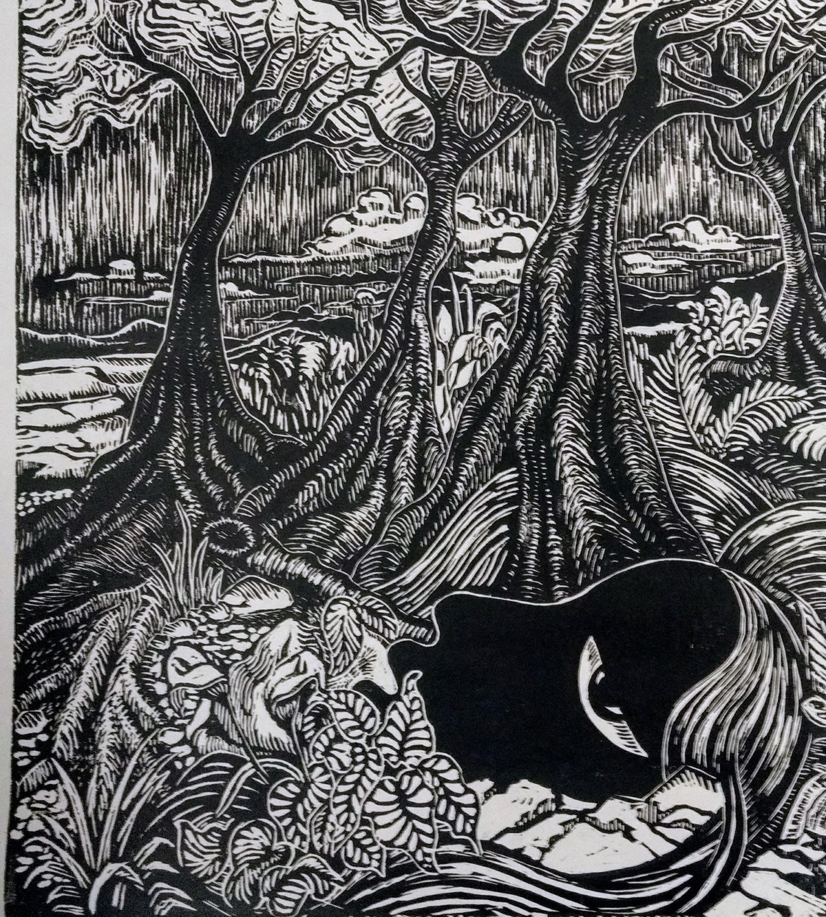 Gasp by Rosy Singh, Illustration Printmaking, Wood Cut on Paper, Shark color