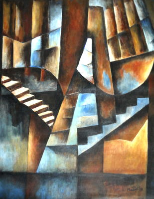 Untitled by Pradip Chaudhuri, Cubism Painting, Acrylic on Canvas, Armadillo color