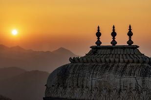 Sunset at the Aravallis by Sayandeep Nag, Image Photography, Digital Print on Paper, Dune color