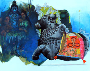 nandi 2 by Ramchandra Kharatmal, Expressionism Painting, Acrylic & Graphite on Canvas, Pickled Bluewood color