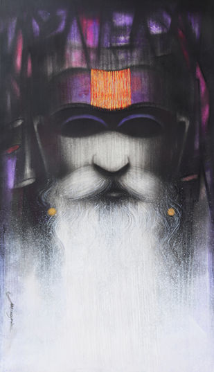 A Sadhu's Reminiscences by Somnath Bothe, Expressionism Painting, Mixed Media on Paper, Ship Gray color