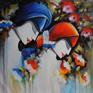 love song by pradeesh k raman, Traditional Painting, Acrylic on Canvas, Merlin color