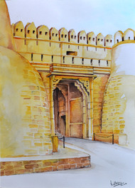 THE FORT by HULLAS JAIN, Illustration Painting, Watercolor on Paper, Ash color