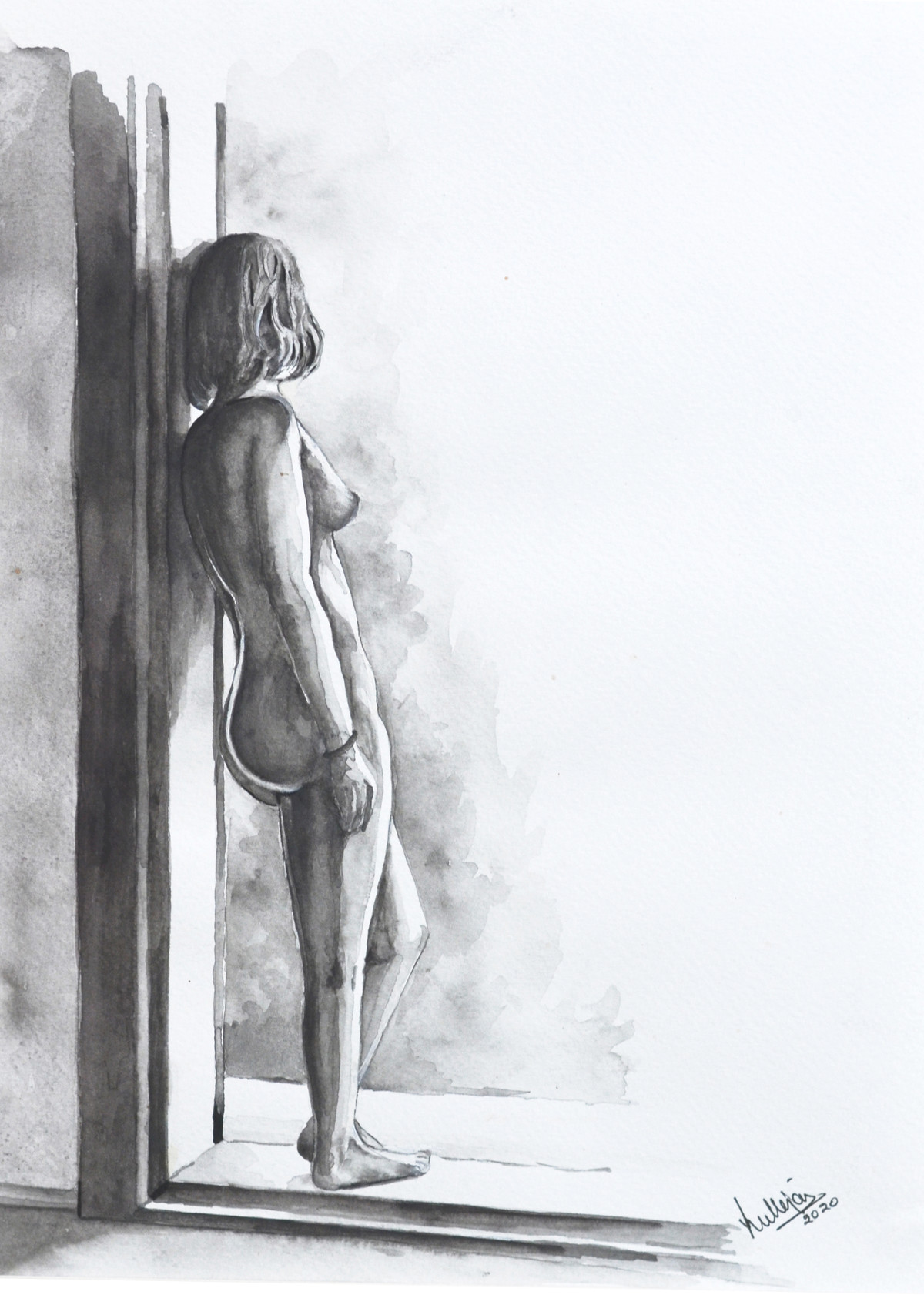 NUDE by HULLAS JAIN, Illustration Painting, Watercolor on Paper, Granite Gray color