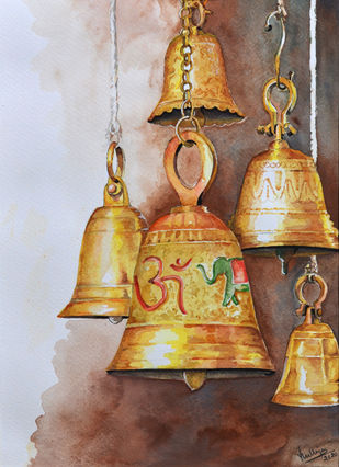 THE TMPLE BELLS by HULLAS JAIN, Decorative Painting, Watercolor on Paper, Submarine color
