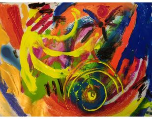 Joyous Spirals Digital Print by Rabraj Saimy,Abstract