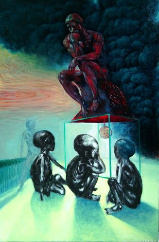 The Thinker by Gopal Gangavane, Conceptual Painting, Oil on Canvas, Gable Green color