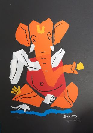 Ganesh (KITE PAPER SERIES) by M F Husain, Expressionism Serigraph, Serigraph on Paper, Mine Shaft color