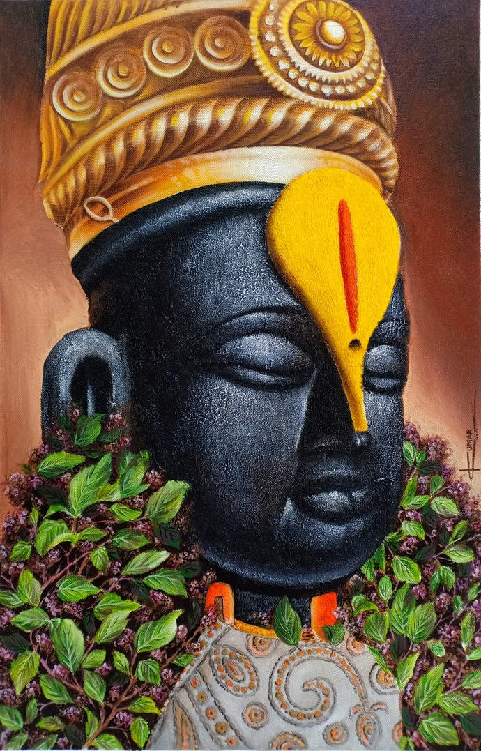 Vitthal by Kumar Ranadive, Realism Painting, Acrylic on Canvas, Woody Brown color