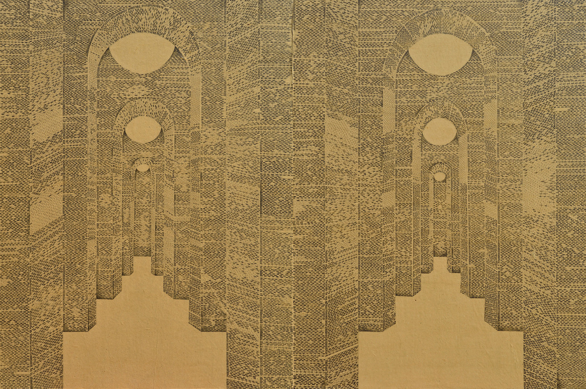 Via/ Route by Anil Thambai, Conceptual Drawing, Graphite on Paper, Dirt color
