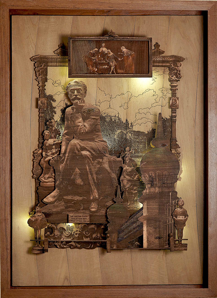 Contemplation by SHRIRAM MANDALE, Art Deco Sculpture   3D, Mixed Media on Wood, Shadow color