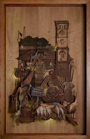 Piscean Friends by SHRIRAM MANDALE, Art Deco Sculpture   3D, Mixed Media on Wood, Shingle Fawn color