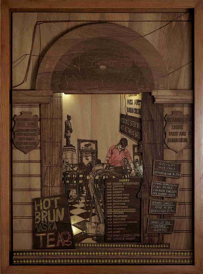 Tea Time Saga by SHRIRAM MANDALE, Art Deco Sculpture   3D, Mixed Media on Wood, Saddle color