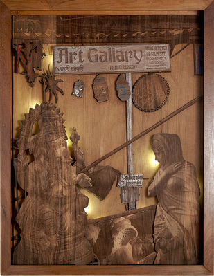 Quite Chaos by SHRIRAM MANDALE, Art Deco Sculpture | 3D, Mixed Media on Wood, Shingle Fawn color