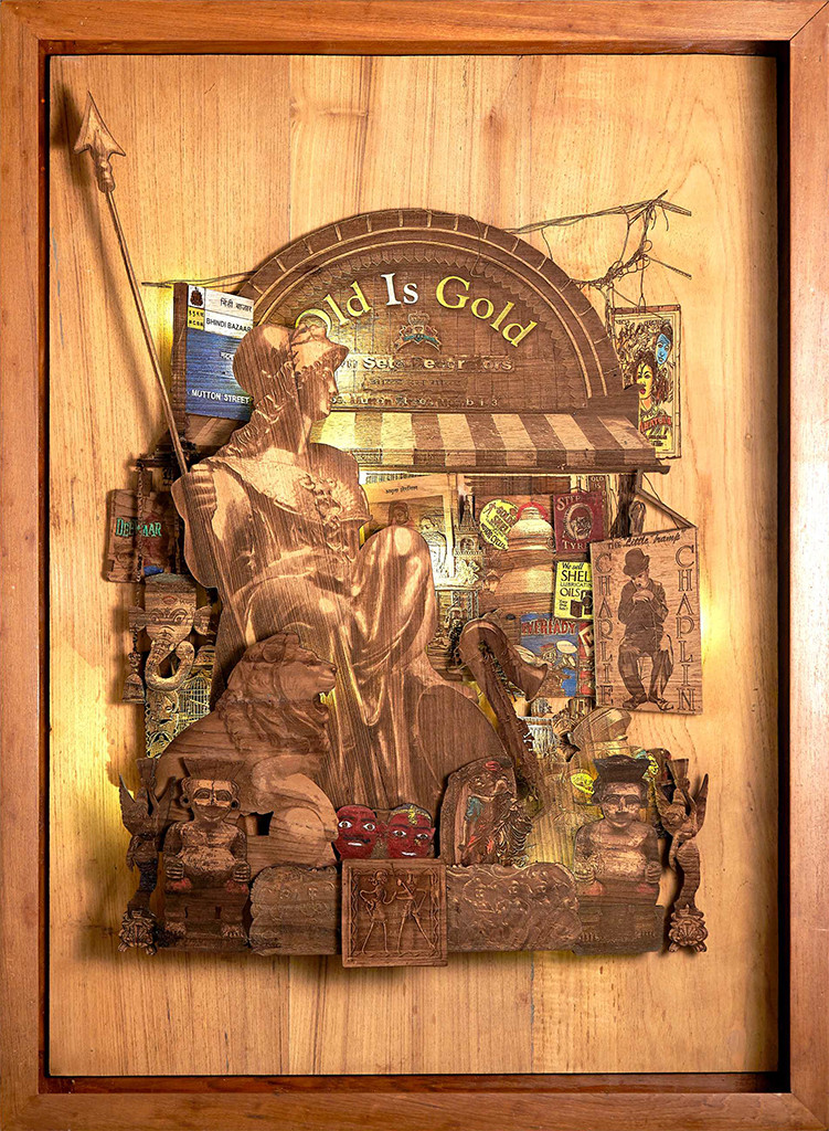 Lost Treasure by SHRIRAM MANDALE, Art Deco Sculpture | 3D, Mixed Media on Wood, Chocolate color