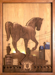 Mid Gallop by SHRIRAM MANDALE, Art Deco Sculpture | 3D, Mixed Media on Wood, Chocolate color