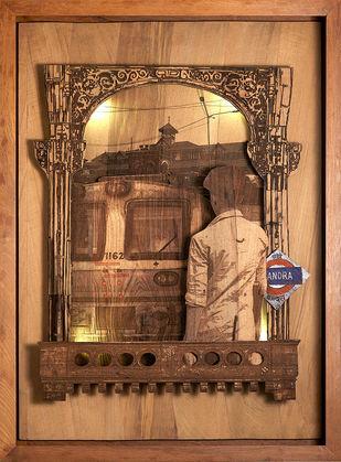 Mumbai Express by SHRIRAM MANDALE, Art Deco Sculpture   3D, Mixed Media on Wood, Chocolate color