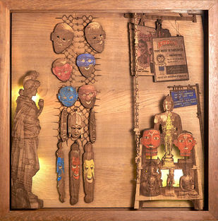 Unmasked by SHRIRAM MANDALE, Art Deco Sculpture   3D, Mixed Media on Wood, Chocolate color