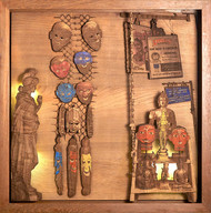Unmasked by SHRIRAM MANDALE, Art Deco Sculpture | 3D, Mixed Media on Wood, Chocolate color