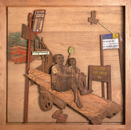Daily Bread by SHRIRAM MANDALE, Art Deco Sculpture | 3D, Mixed Media on Wood, Chocolate color