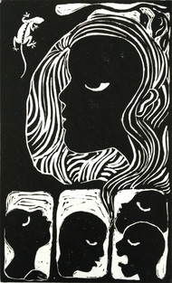 The Sin by Rosy Singh, Illustration Printmaking, Wood Cut on Paper, Log Cabin color