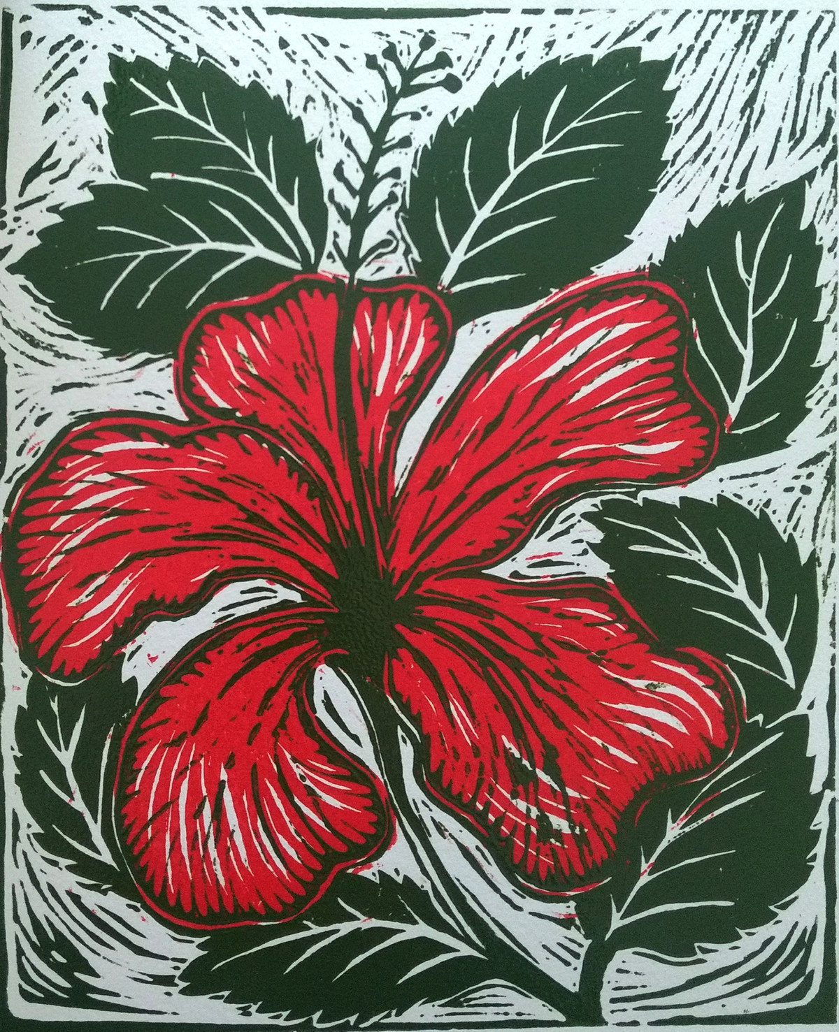 Hibiscus by Rosy Singh, Expressionism Printmaking, Wood Cut on Paper, Can Can color